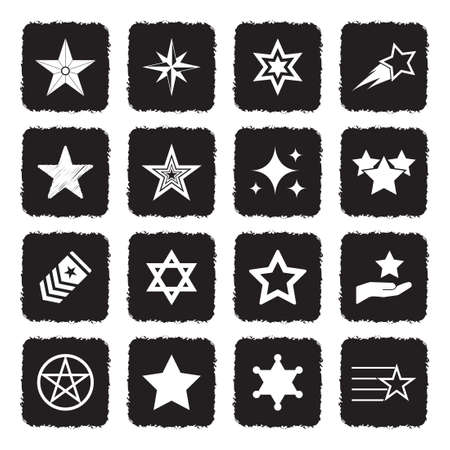 Star Icons. Grunge Black Flat Design. Vector Illustration.