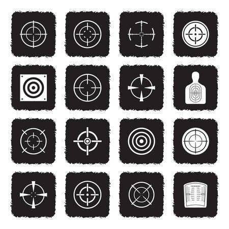 Target And Crosshair Icons. Grunge Black Flat Design. Vector Illustration. Ilustração