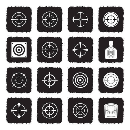Target And Crosshair Icons. Grunge Black Flat Design. Vector Illustration. Stock Illustratie