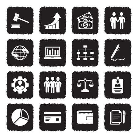 Trading Icons. Grunge Black Flat Design. Vector Illustration.
