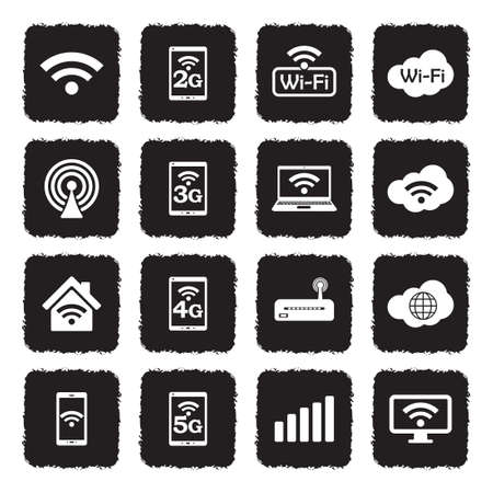 Icônes wifi . grunge design plat noir . illustration vectorielle Banque d'images - 107000354