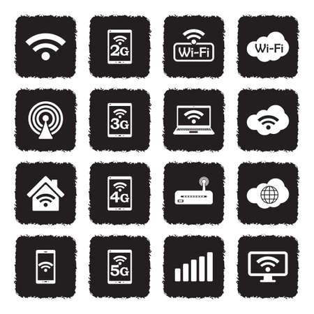 Wifi Icons. Grunge Black Flat Design. Vector Illustration. Ilustração