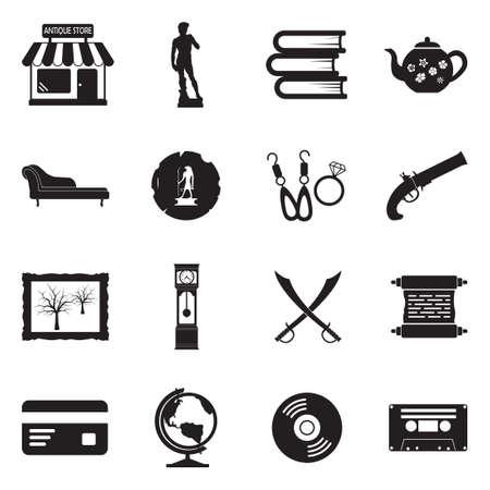 Antique Store Icons. Black Flat Design. Vector Illustration.
