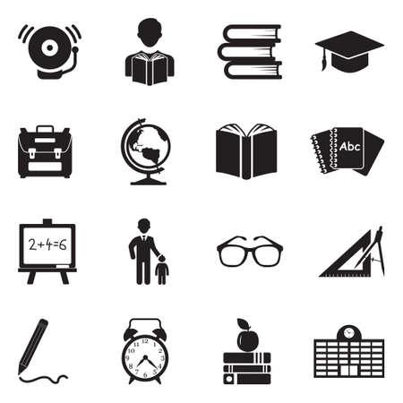 Back To School Icons. Black Flat Design. Vector Illustration.