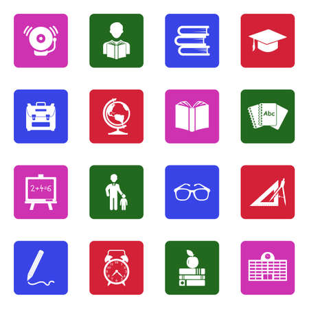Back To School Icons. White Flat Design In Square. Vector Illustration.
