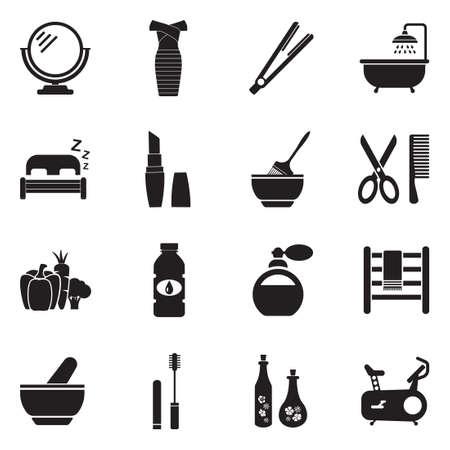 Beauty Icons. Black Flat Design. Vector Illustration.