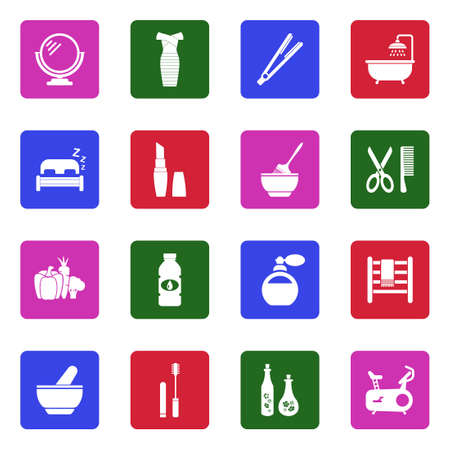 Beauty Icons. White Flat Design In Square. Vector Illustration.