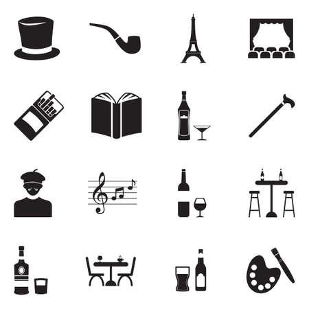 Bohemian Icons. Black Flat Design. Vector Illustration. Illusztráció