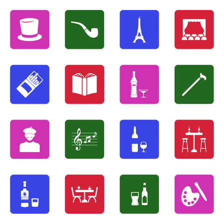Bohemian Icons. White Flat Design In Square. Vector Illustration. Stock Illustratie