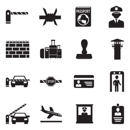 Border Crossing Icons. Black Flat Design. Vector Illustration. Illustration