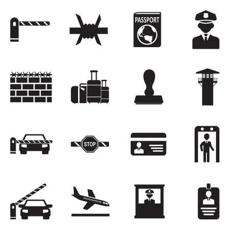 Border Crossing Icons. Black Flat Design. Vector Illustration. Иллюстрация