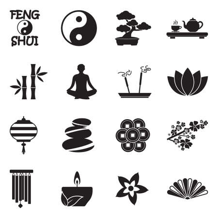 Feng Shui Icons. Black Flat Design. Vector Illustration.