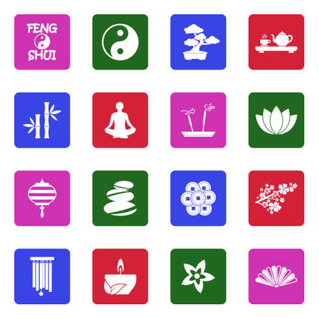 Feng Shui Icons. White Flat Design In Square. Vector Illustration.