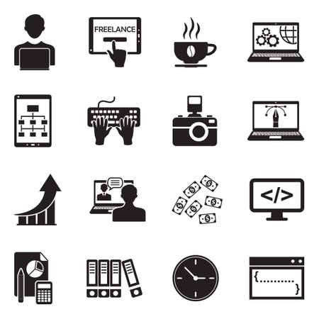 Freelance Icons. Black Flat Design. Vector Illustration. Illustration