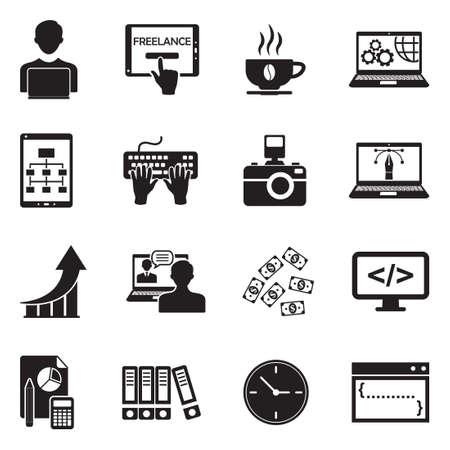 Freelance Icons. Black Flat Design. Vector Illustration. Ilustração