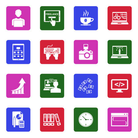 Freelance Icons. White Flat Design In Square. Vector Illustration. Banque d'images - 107410750