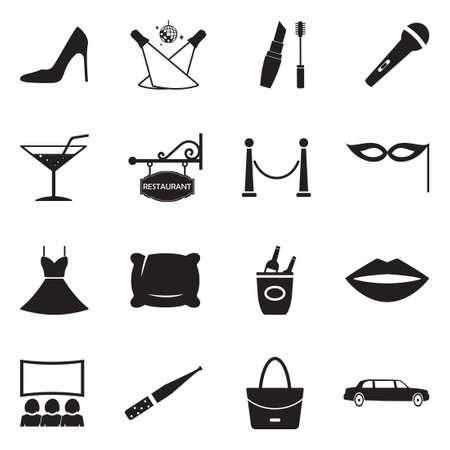 Ladies Night Icons. Black Flat Design. Vector Illustration. Ilustração