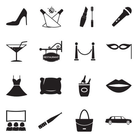 Ladies Night Icons. Black Flat Design. Vector Illustration. Illustration