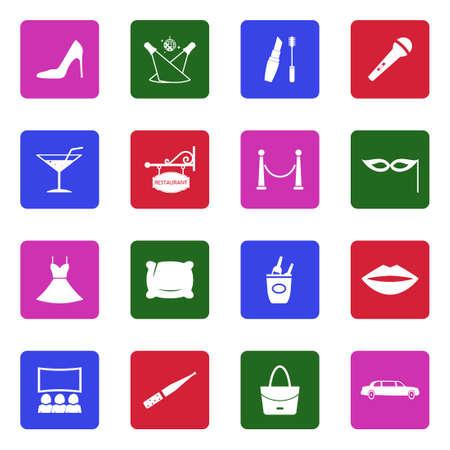 Ladies Night Icons. White Flat Design In Square. Vector Illustration.