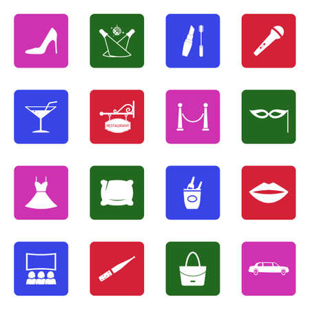 Ladies Night Icons. White Flat Design In Square. Vector Illustration. Banque d'images - 107410752
