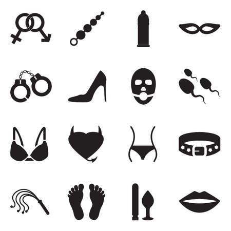 Sex And Fetish Icons. Black Flat Design. Vector Illustration.