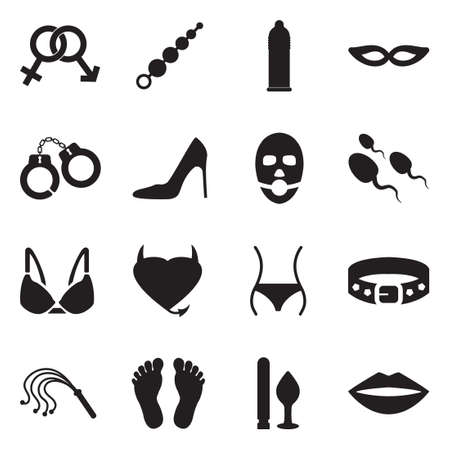 Sex And Fetish Icons. Black Flat Design. Vector Illustration.