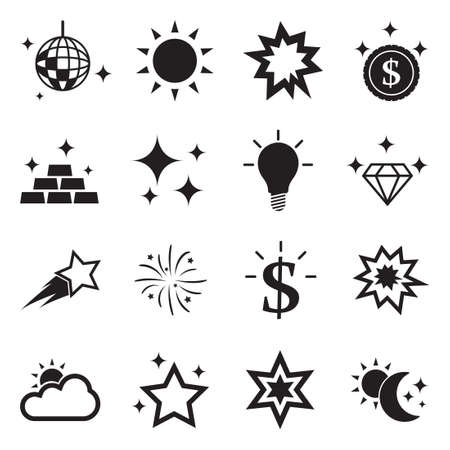 Shining Icons. Black Flat Design. Vector Illustration.