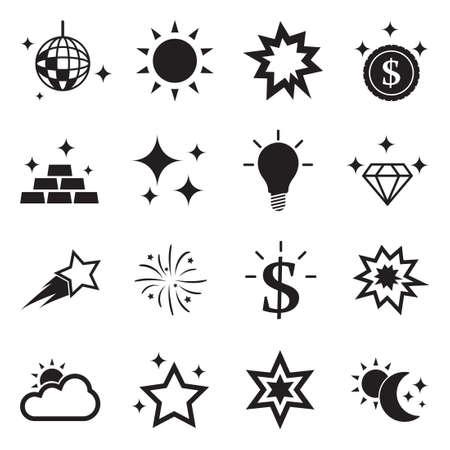 Shining Icons. Black Flat Design. Vector Illustration.