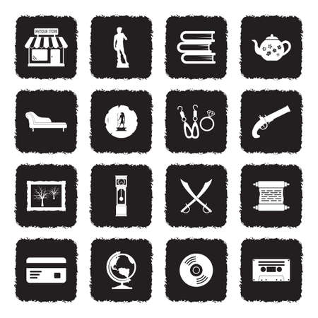 Antique Store Icons. Grunge Black Flat Design. Vector Illustration. Illustration