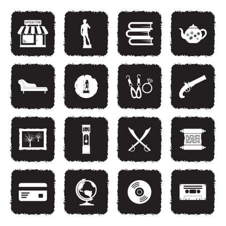 Antique Store Icons. Grunge Black Flat Design. Vector Illustration. Stock Illustratie