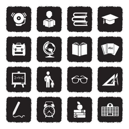 Back To School Icons. Grunge Black Flat Design. Vector Illustration. Stock Illustratie