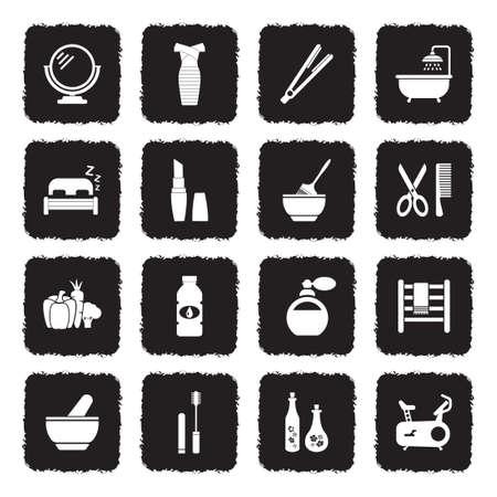 Beauty Icons. Grunge Black Flat Design. Vector Illustration.