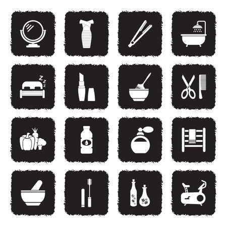 Icônes de beauté . design plat noir grunge. illustration vectorielle Banque d'images - 107000357