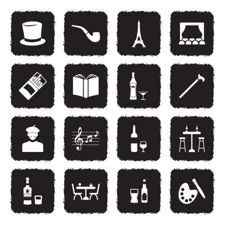 Bohemian Icons. Grunge Black Flat Design. Vector Illustration.