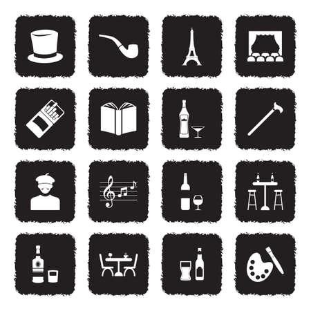Icônes de bohème . design plat noir grunge. vector illustration Banque d'images - 107000358