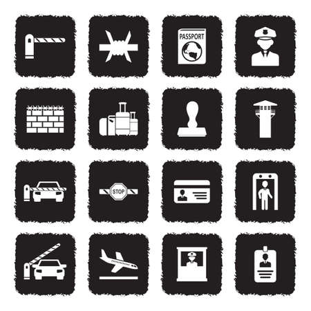 Border Crossing Icons. Grunge Black Flat Design. Vector Illustration.