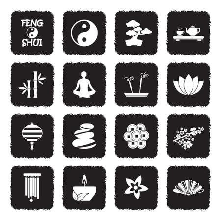 Feng Shui Icons. Grunge Black Flat Design. Vector Illustration.