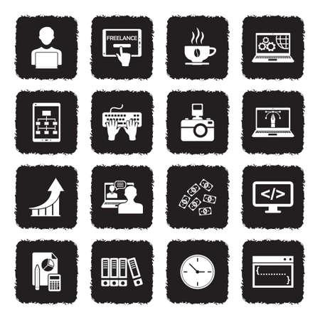 Freelance Icons. Grunge Black Flat Design. Vector Illustration. Illustration