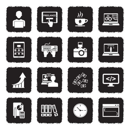 Freelance Icons. Grunge Black Flat Design. Vector Illustration. Banque d'images - 107000361