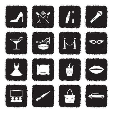Ladies Night Icons. Grunge Black Flat Design. Vector Illustration.