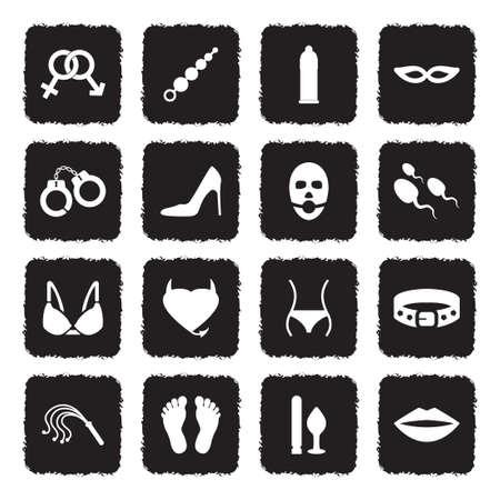 Sex And Fetish Icons. Grunge Black Flat Design. Vector Illustration. Ilustração