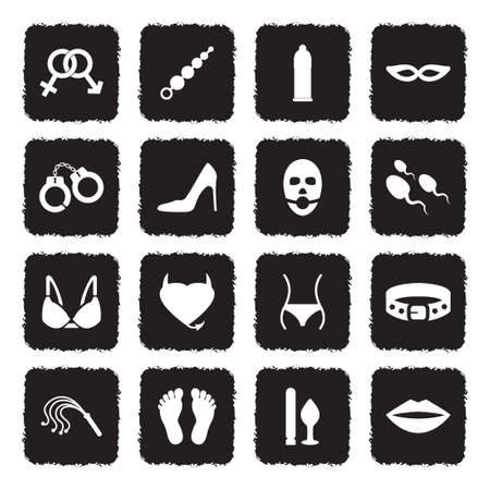 Sex And Fetish Icons. Grunge Black Flat Design. Vector Illustration. Illustration