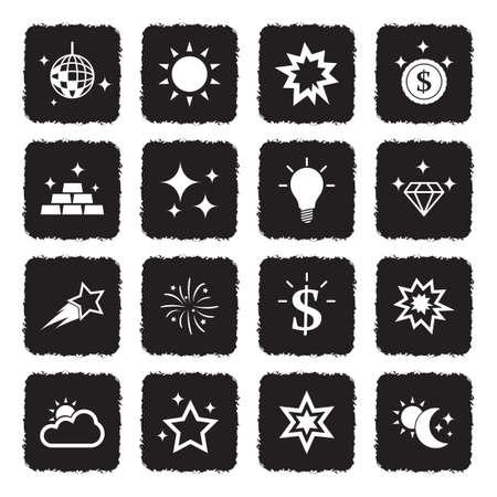 Shining Icons. Grunge Black Flat Design. Vector Illustration. Stock Illustratie