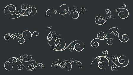 Curls and scrolls set. Decorative elements for frames. Elegant design swirl vector illustration.