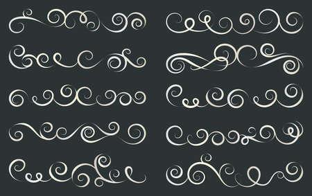 Design curls and scrolls set. Decorative elements for frames. Elegant swirl vector illustration.