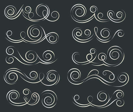 Swirls set. Decorative elements for frames. Elegant swirl vector illustration. Banque d'images - 107410758