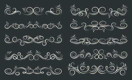Calligraphic dividers design. Decorative elements and calligraphic borders. Vector illustration.