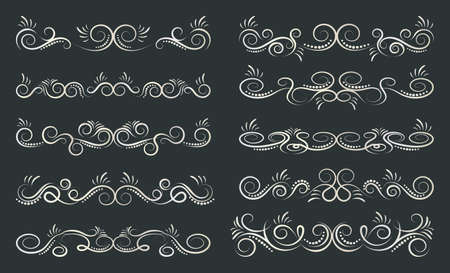 Calligraphic dividers design. Decorative elements and calligraphic borders. Vector illustration. Banque d'images - 107410761