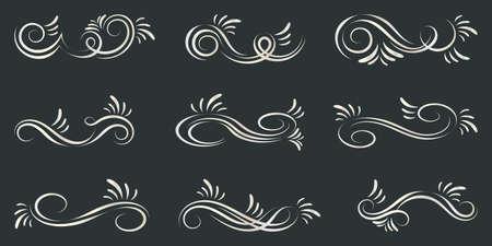 Set of curls and scrolls. Decorative elements for frames. Banque d'images - 107410766