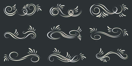 Set of curls and scrolls. Decorative elements for frames.